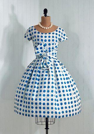 1950 blue polkadot